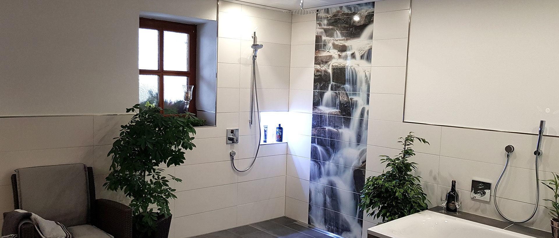 Bedruckte Fliesen in der Dusche